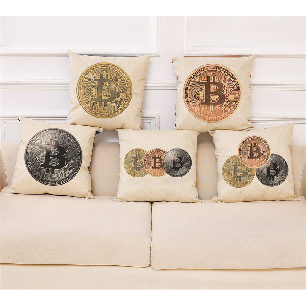 Home Decor Cushion Cover Bitcoin Decorative Coins Throw Pillowcase Pillow Covers 45 * 45cm Cover Throw Printed Almofadas Cojines