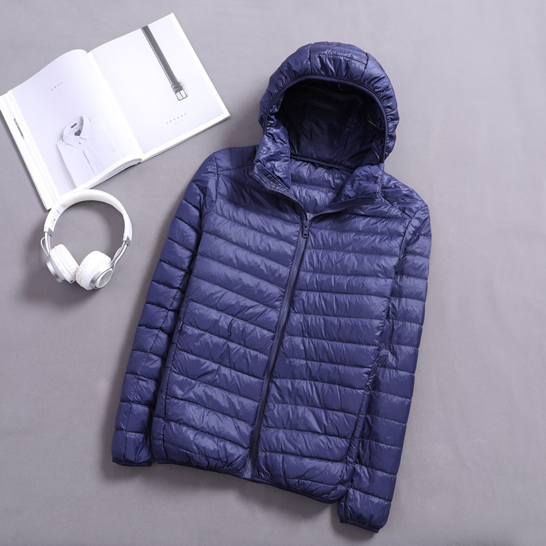 Autumn And Winter Light Down Jacket Hood Mens Clothing Portable Down Parkas Feather Jackets Thin Outwear Coats 2019 Big Size