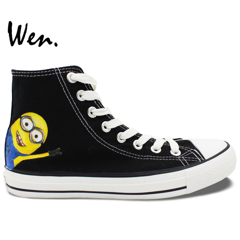 ФОТО Wen Hand Painted Black Canvas Shoes Minions Despicable Me Men Women's Birthday Gifts High Top Canvas Sneakers