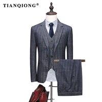 TIAN QUỲNH 2018 Người Đàn Ông Mới của Xám Prom Phù Hợp cho Cưới Tuxedo Ternos Mens Slim Phù Hợp Với Bộ Quần Áo Kẻ Sọc với Quần Costume Homme 3 miếng