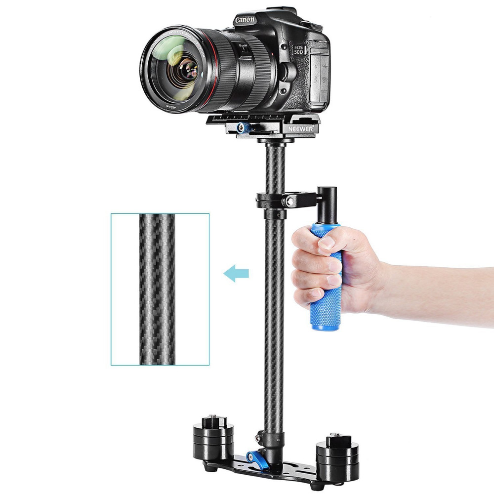 Neewer Carbon Fiber 24/60cm Handheld Stabilizer with Quick Release Plate and Screw for DSLR and Video Cameras up to 6.6lbs/3kg laing h5 mini carbon fiber handheld stabilizer with 6 17lb 2 8kg loading capacity for dslr cameras with bag and arm brace wrist