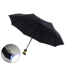50pcs/lot Wholesale Rainy Umbrella with Torch Light New Automatic Folding Umbrella LED Flashlight Lamp Umbrella Three-folding