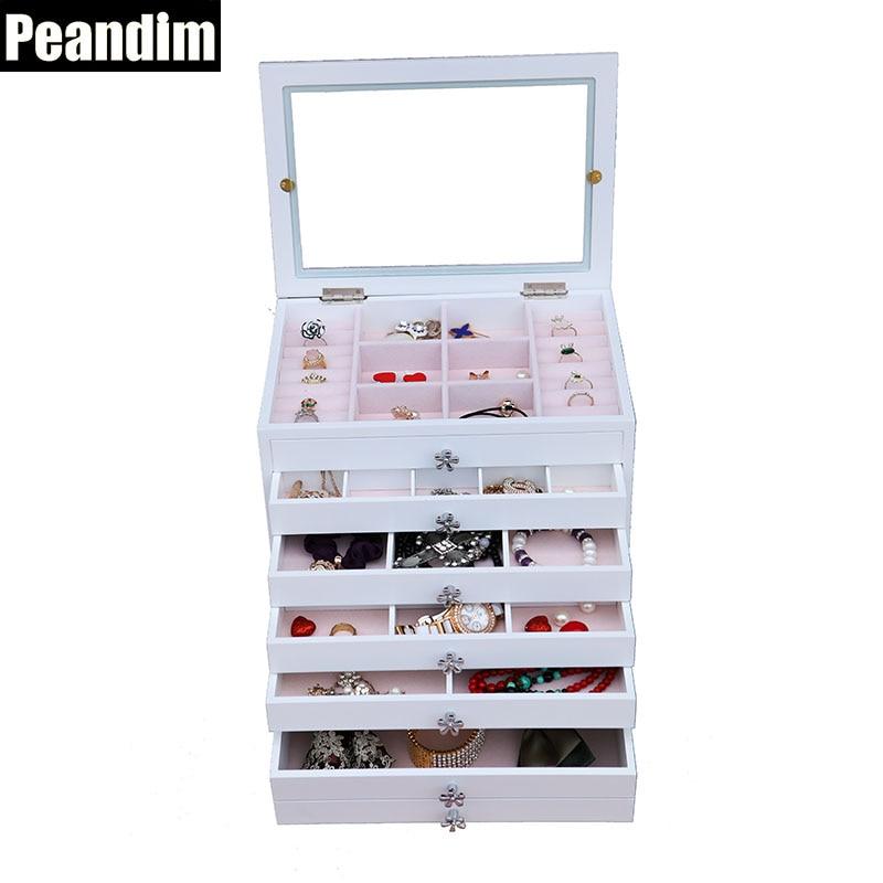 PEANDIM Modern Style Five Drawers Wooden Storage Box Jewelry Watch Storage Organizer Window Mirror Cosmetic Lipsticks