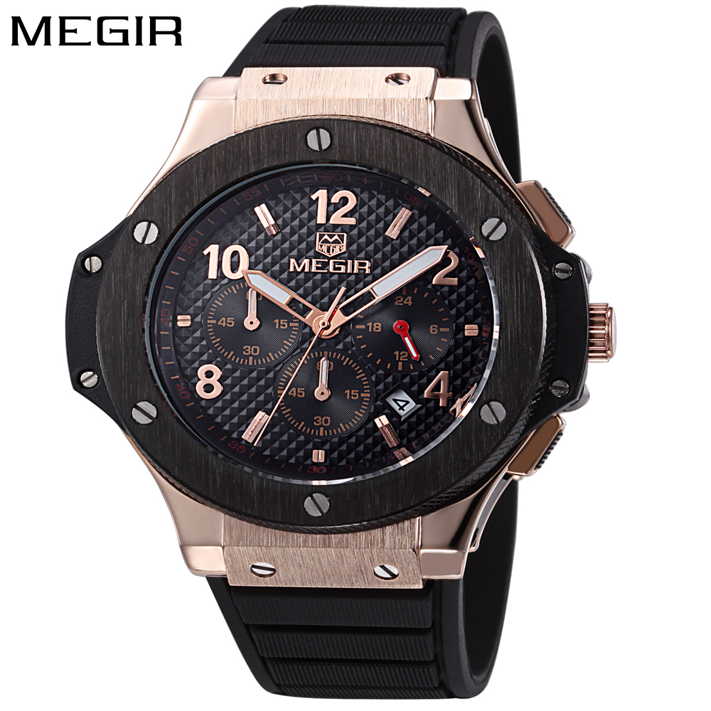 MEGIR Watch Men Gold Chronograph Sport Mens Watches Top Brand Luxury Military Quartz Men's Watch Wrist Clock Male montre homme luxury men watch leather wrist watch for man three time zone watches military clock male sport big quartz watch montre homme