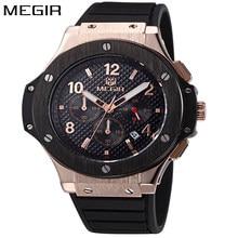 46e03006734 MEGIR Relógio Do Esporte Do Cronógrafo Dos Homens de Ouro Mens Relógios Top  Marca de Luxo