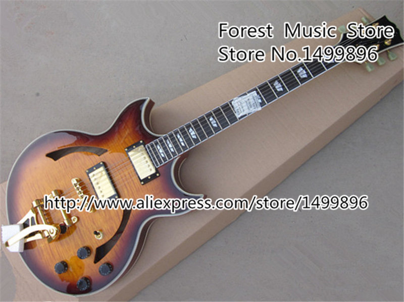 Free Ship Sunset Glow Tiger Flame Classical Johnny A Signature Hollow Body ES Electric Guitar China For Sale free ship sunset glow tiger flame es classical johnny a signature hollow body electric guitar china custom available