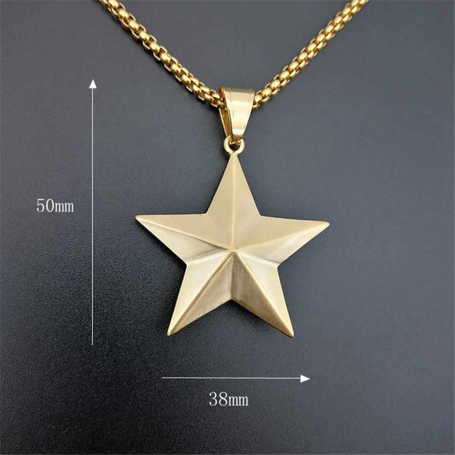 Hip Iced Out Bling Star colgante collar para hombres/mujeres oro Color acero inoxidable pentagrama collar joyería dorada n1401