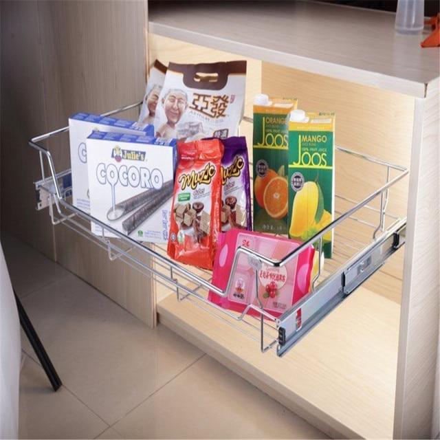 Kitchen Pantry Pull Out Sliding Metal Under Shelf Storage Basket Drawer E Cabinet Holder Organizer