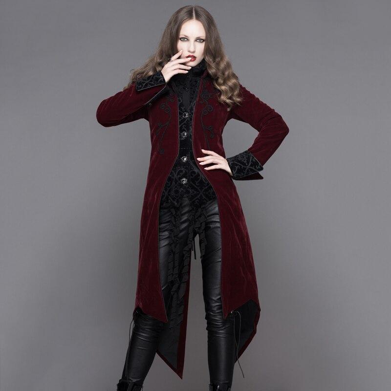 Devil модные готический дворец Ветер для женщин длинные куртки стимпанк Осень Зима Одежда с длинным рукавом ласточкин хвост пальт