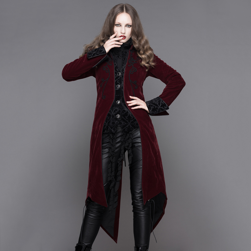 Devil Fashion Gothic Palace Wind Women Long Jackets Steampunk Autumn Winter Long Sleeves Swallowtail Coats Black Red Overcoats