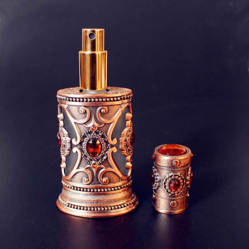 где купить Antique 40ml Big Metal Perfume Bottle Arab Style Empty Glass Spray Bottle Cosmetic Container Craft Decoration Gift по лучшей цене