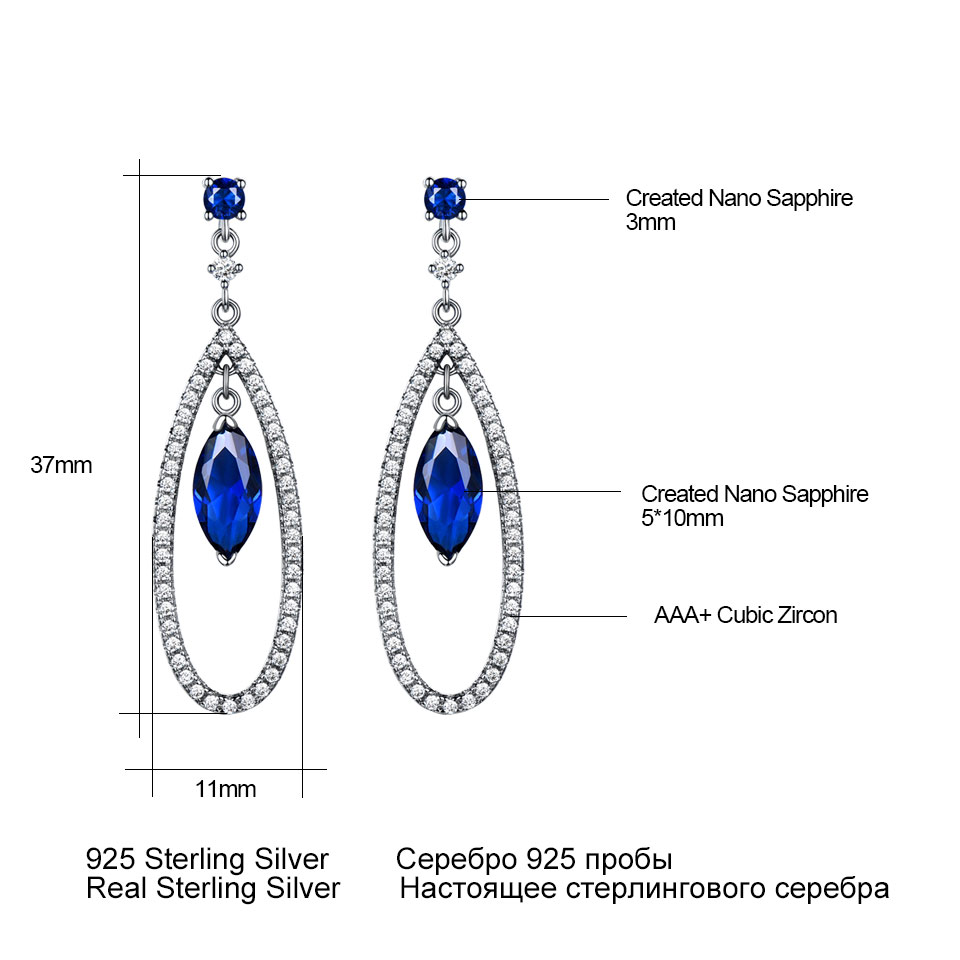 UMCHO 925 Sterling Silver Jewelry Sets Elegant Blue Sapphire Pendant Necklace Drop Earrings For Women Wedding Christmas Gift New