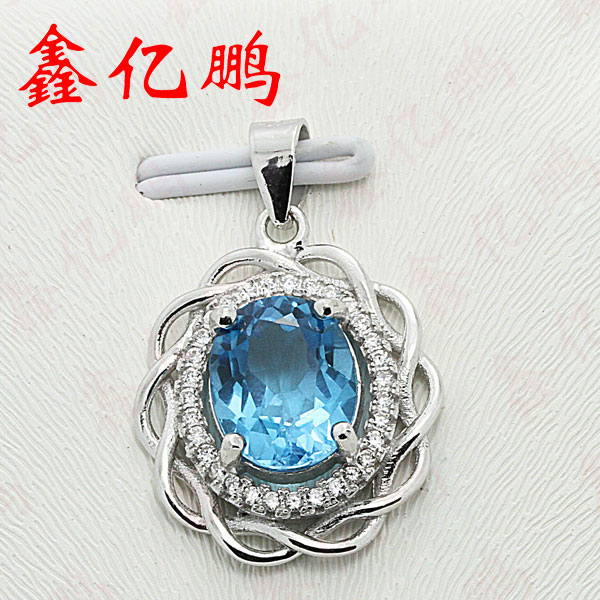 925 sterling silver inlaid natural  Topaz pendant925 sterling silver inlaid natural  Topaz pendant