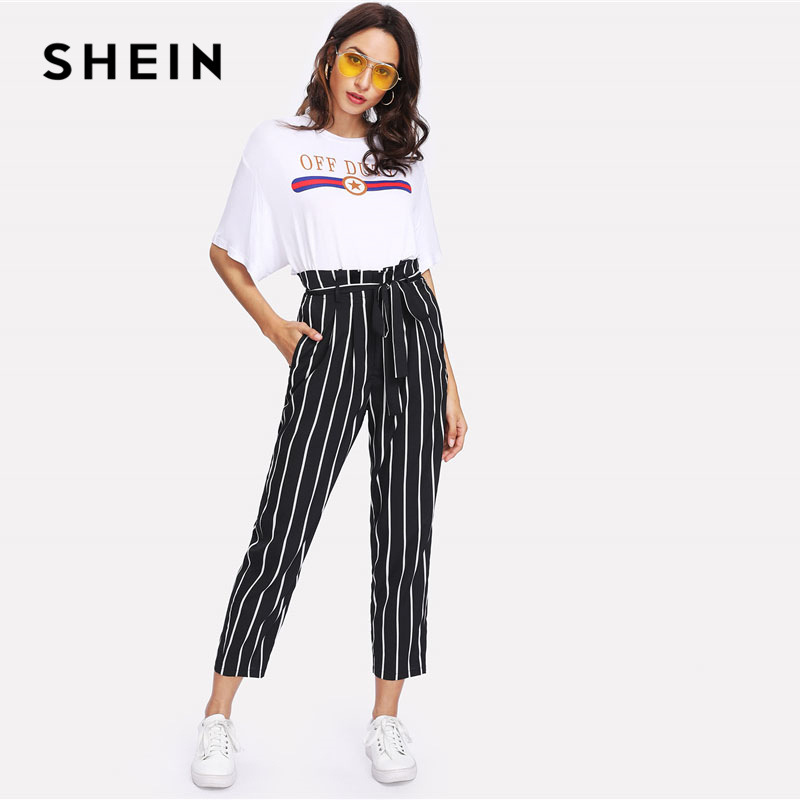 8fb3b64085 SHEIN Self Belt Striped Pants Women fashion Clothing High Waist Zipper Fly  Trousers 2018 Spring New Casual Carrot Pants-in Pants & Capris from Women's  ...