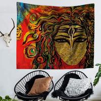 WARM TOUR Retro Hippie Wall Hanging Women and Plant Printing Beach Towels Sunscreen Square Mandala Tapestry