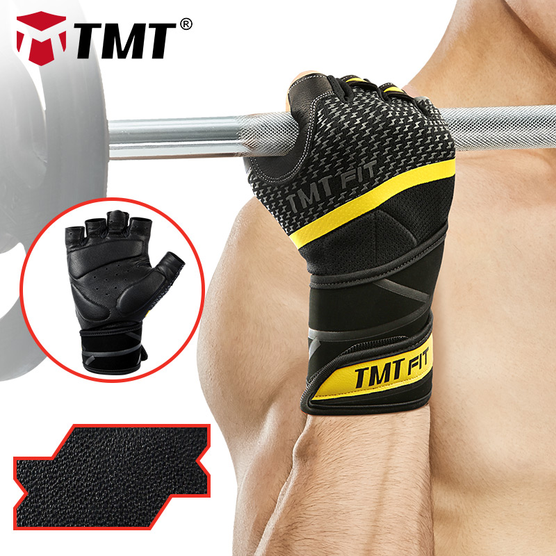 TMT Leather Gym Gloves Bodybuilding Weight Lifting Fitness Non-slip Breathable Long Wrist Wrap Support Sports Exercise