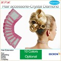 H.P.W. 1pack Crystal Hair accessorie Iron on hair Pack of 48Gems for Weddings Mixed 10 colors