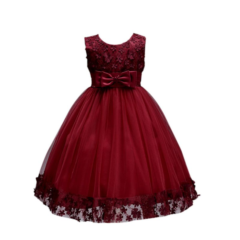 Cute Flower Bow Kids Girl Dress Prom Princess Party Dresss Children Summer Clothing