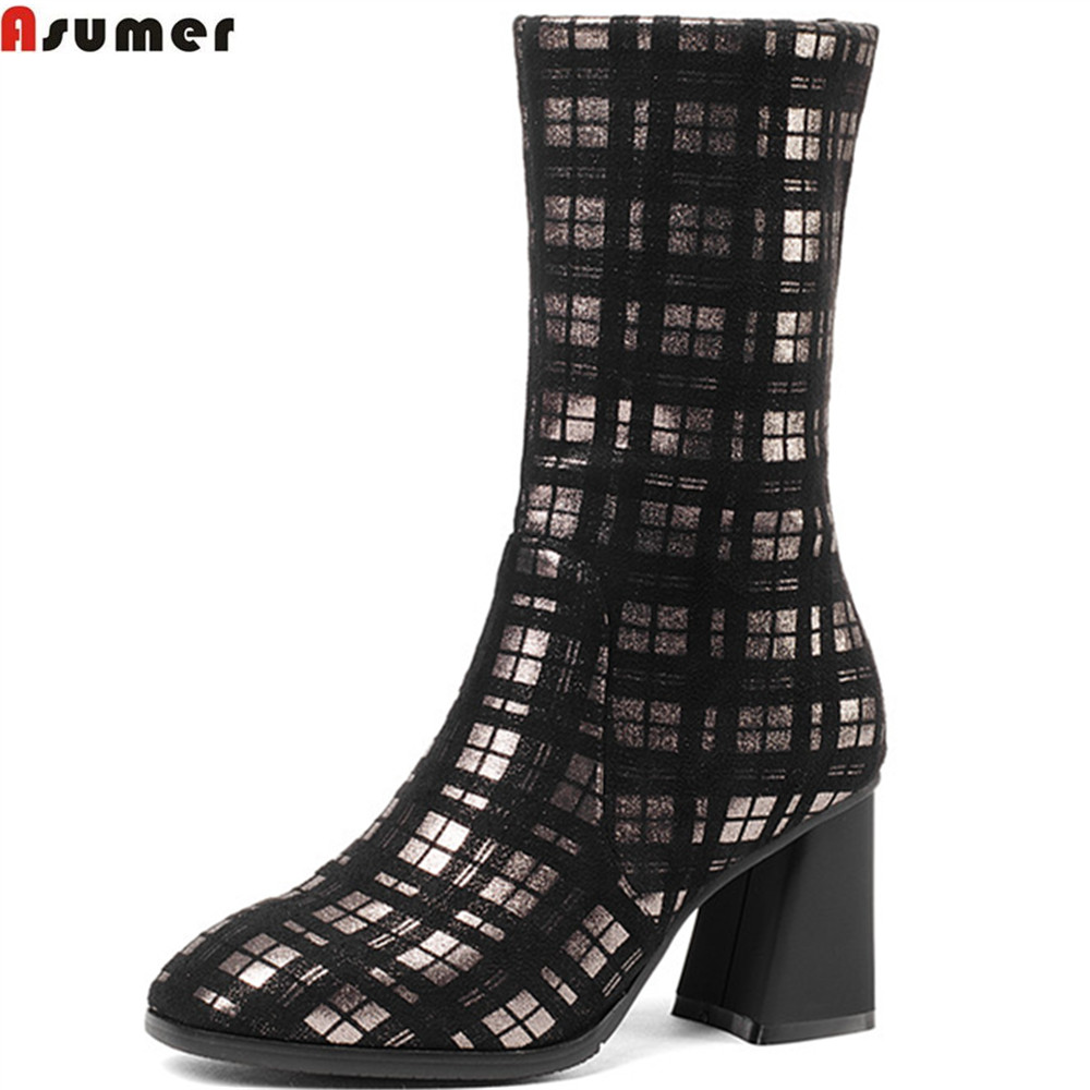 ASUMER 2018 hot sale new arrive women boots square toe high quality flock ladies boots square heel ankle boots elegant
