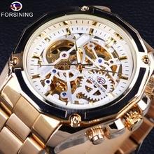 Forsining Steampunk Mechanical Movement Golden Stainless Steel Transparent Movement Men Watches Top Brand Luxury Automatic Watch