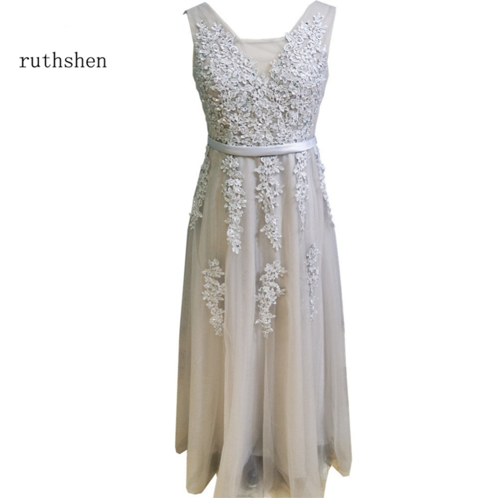 ruthshen Red A Line Plus Size Prom Dresses Cheap Lace Beaded Appliques Ruched Tulle Long Evening Gowns Real Photo Formal Dress