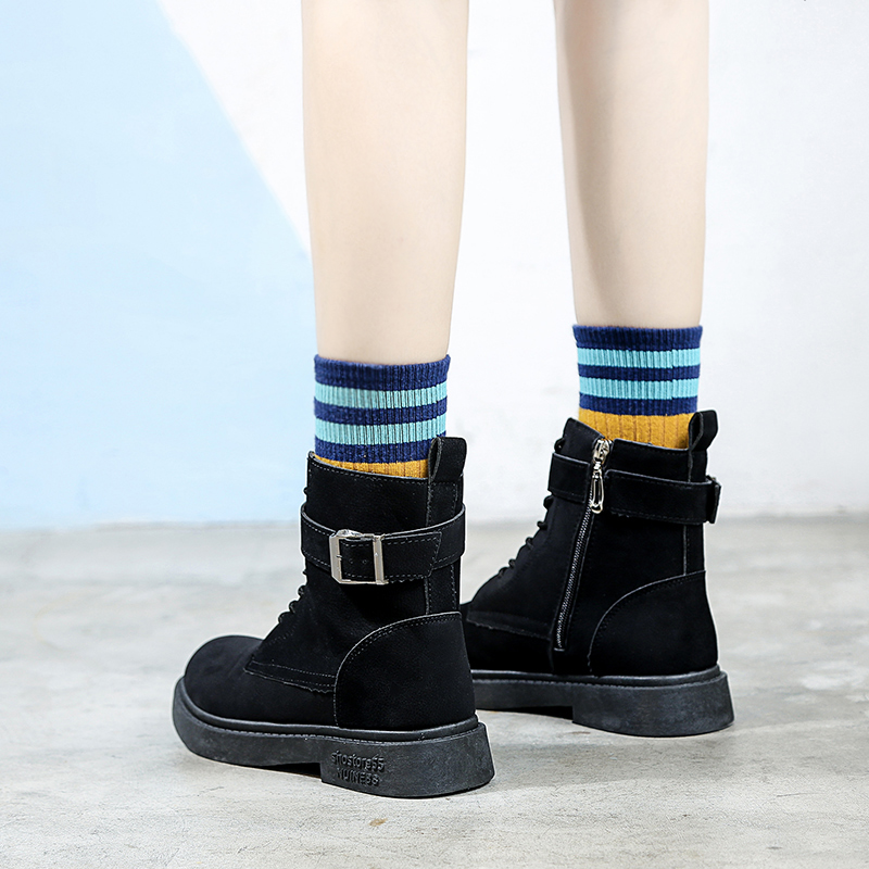 Chic Khaki De Tobillo Martin negro Plataforma Las Mujer Cuero Goma Alta Zapatos 2018 Vaca Botas Invierno Mujeres Rqddg