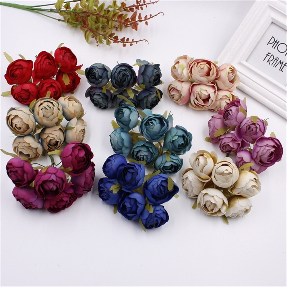 6pcs silk big rose bud artificial flower bouquet bridal brooch 6pcs silk big rose bud artificial flower bouquet bridal brooch artificial headdress decoration diy material crown in artificial dried flowers from home izmirmasajfo