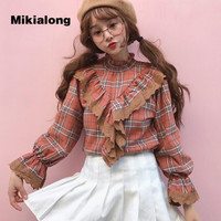 Mikialong 2018 New Spring Ruffle Plaid Shirts Women Tops And Blouse Vintage Stand Collar Tunique Femme