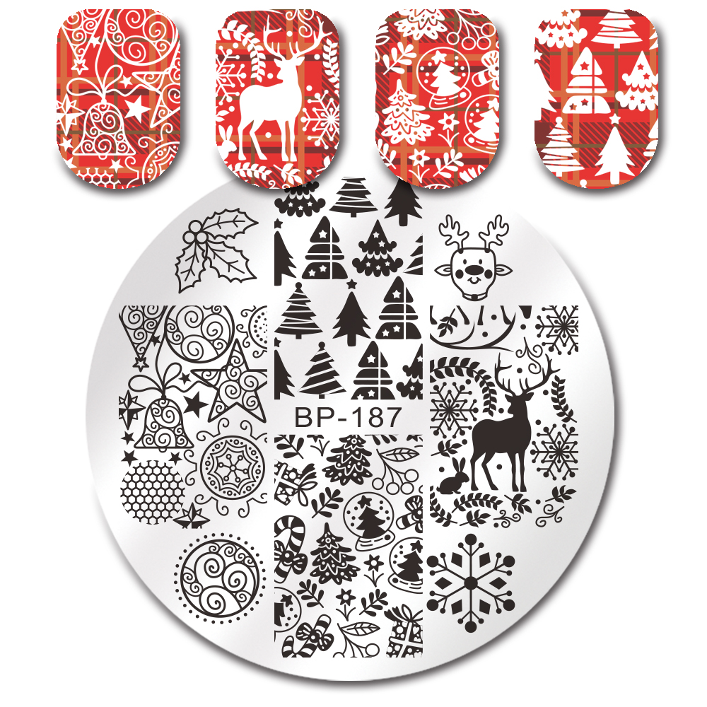 Nail Art Born Pretty Xmas Stamping Plates Winter Christmas Tree Snowflake Cake Star Fireworks Deer Bell Manicure Nail Art Image Plate Diy Nails Art & Tools