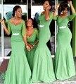 Verde esmeralda Longo Sereia Vestidos 2016 Frisada Meia Manga Até O Chão Da Dama de honra Vestidos de Festa de Casamento Vestido de Madrinha