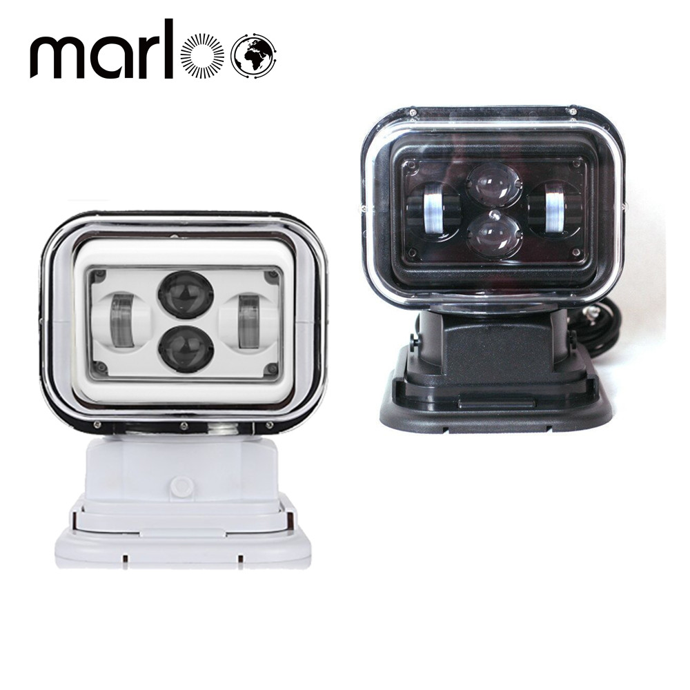 Marloo 7Inch 360 Degree Remote Control 4D Led Search Light 60W Marine Searchlight Spot light For