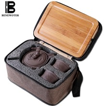 Outdoor Camp Portable Quick Cup Chinese Traditional Ceramic Yixing Purple Clay 1 Teapot 2Cups with 1Bamboo Tray 1 Travel Bag