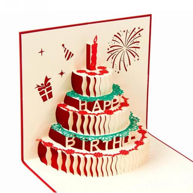 Handmade Xmas Tree 3d Birthday Cake Greeting Card Christmas Birthday
