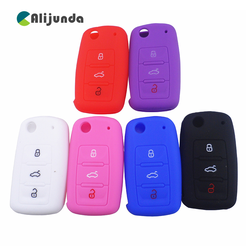 Silicone Car Key Cover Case For Volkswagen Folding Key Fob Protective Case For Vw Passat Polo ...