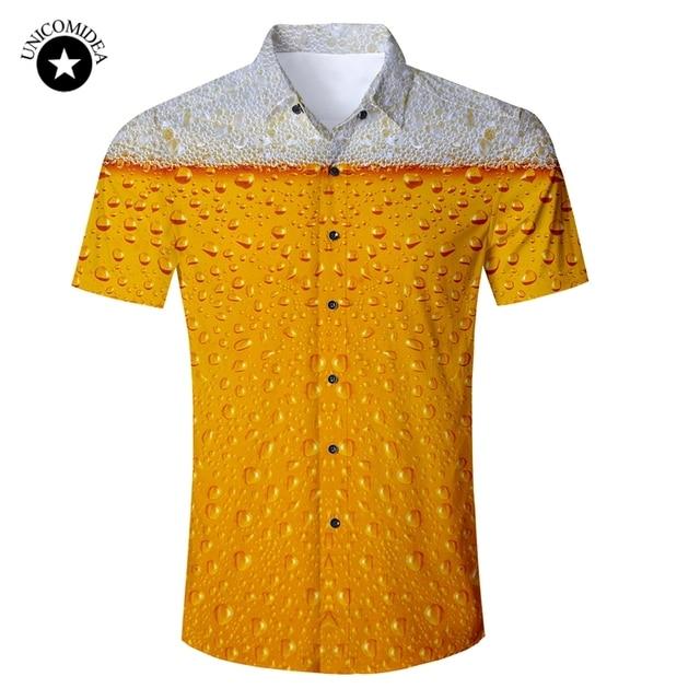 94a8c8f2 Beer Print Shirt Mens Funny Novelty Dress Shirts Short Sleeve Tops Male  Slim Fit Blouse Hawaiian Shirt Casual Brand Clothing
