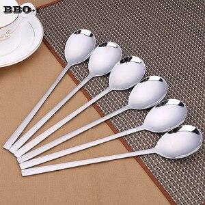 8,25 ''набор столовых ложек из нержавеющей стали с длинной ручкой, круглая ложка для супа, столовая ложка, металлические ложки для обслуживани...