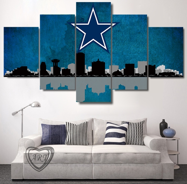 Dallas cowboys city skyline canvas prints painting wall art 5 pieces poster home decor panels unframed