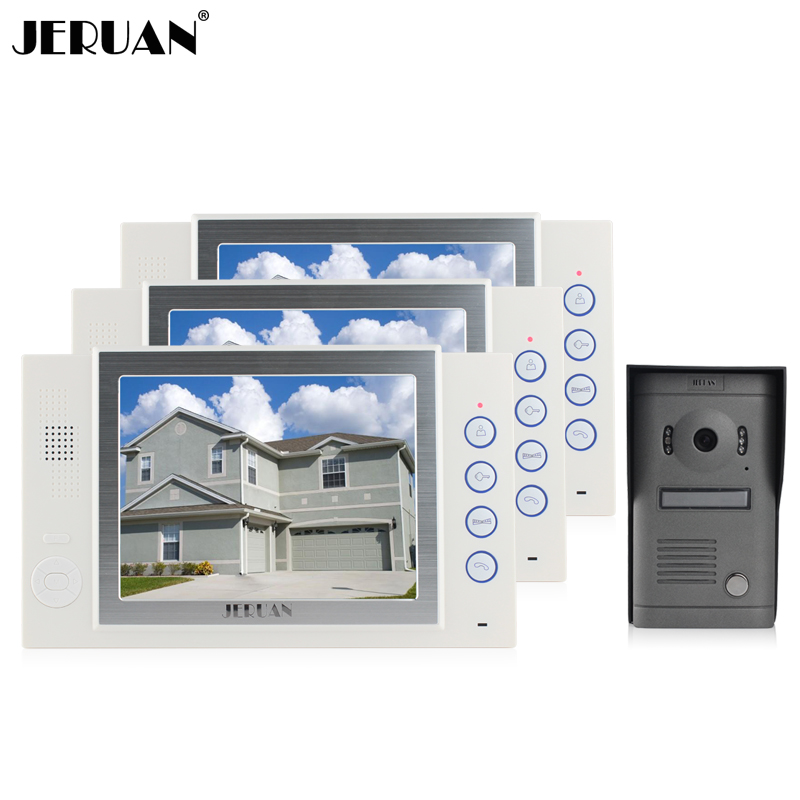 JERUAN 8 inch video door phone intercom system doorbell video recording photo taking 3 monitors 1 camera doorphone rain cover jeruan home security system 2 outdoor 1 indoor with recording photo taking 8 inch video door phone doorbell intercom system
