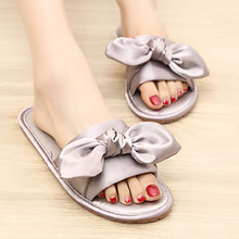 Slipper Korea And Satins Bow Furnishing Sandals Non-slip Ventilation Home Women's Cool silk cloth shoes woman zapatos mujer