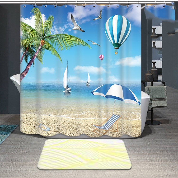 1800x1800mm Customized blue ocean bathroom shower curtain waterproof thickening mold seagull curtain partition curtain curtain-1