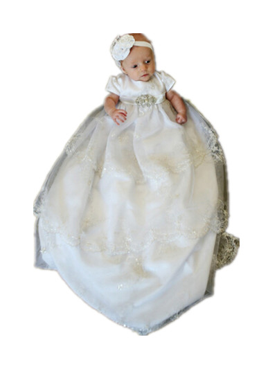BABY WOW White Newborn Baby Girl Christening Gowns + Headdress 1 Year Birthday Dress first communion dresses girls 90138