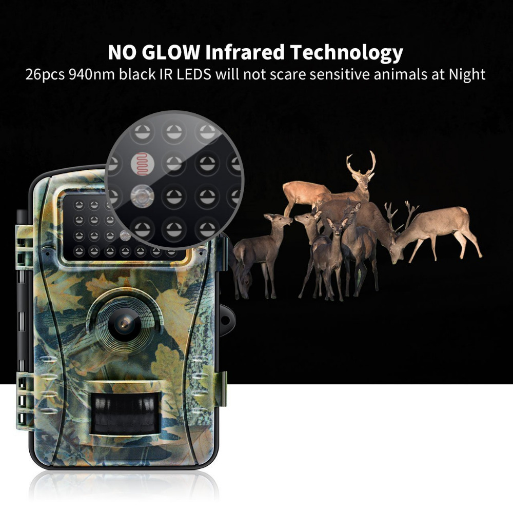 Night Vision Trail Camera Game Hunting Camera 12MP 1080P HD No Glow Infrared Outdoor Surveillance Wildlife Cameras Trap