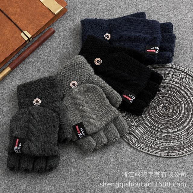 Unisex men Knitted Fingerless Gloves Winter women Soft Warm Mittens Gloves ZX67-7