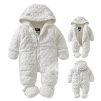 0-18 M Baby meisje jongen Rompertjes 2018 Rusland herfst Winter Kids Lange Mouw Coral Fleece Baby Rompertjes Hooded Jumpsuit