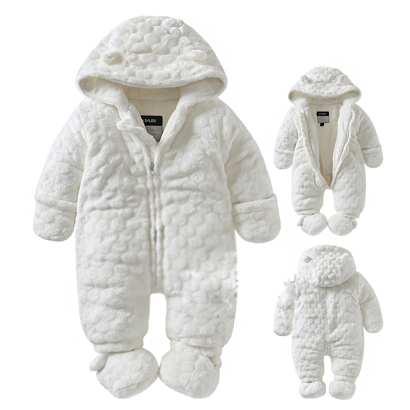 0-18M Baby girl boy Rompers 2018 Russia autumn Winter Kids Long Sleeve Coral Fleece Infant Rompers Hooded  Jumpsuit boy girl rompers autumn baby cotton one pcs rompers baby long sleeve jumpsuit bebe coverall baby pajamas