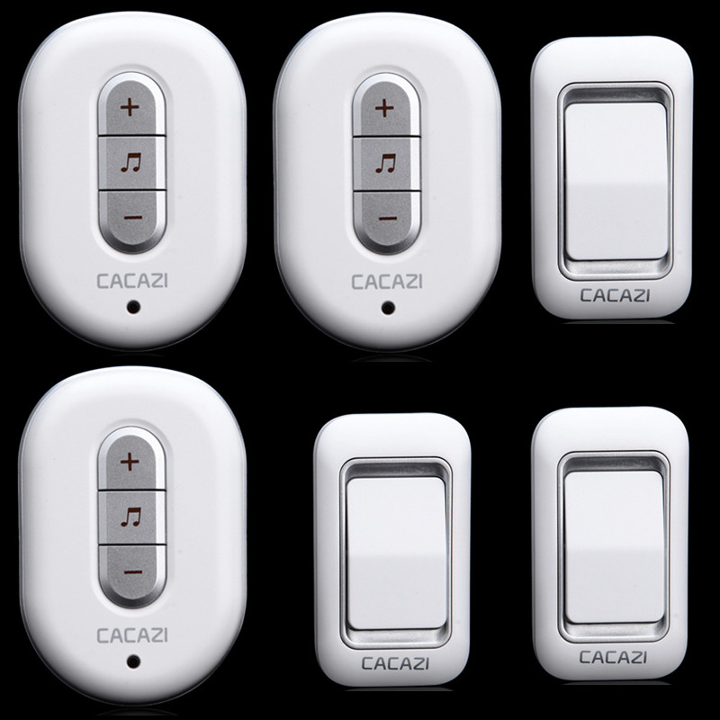 CACAZI-W9918-3 transmitters+3 receivers Wireless Doorbell Waterproof button AC 110/220V Door Bell 300M remote conotrol door ring 2 receivers 60 buzzers wireless restaurant buzzer caller table call calling button waiter pager system