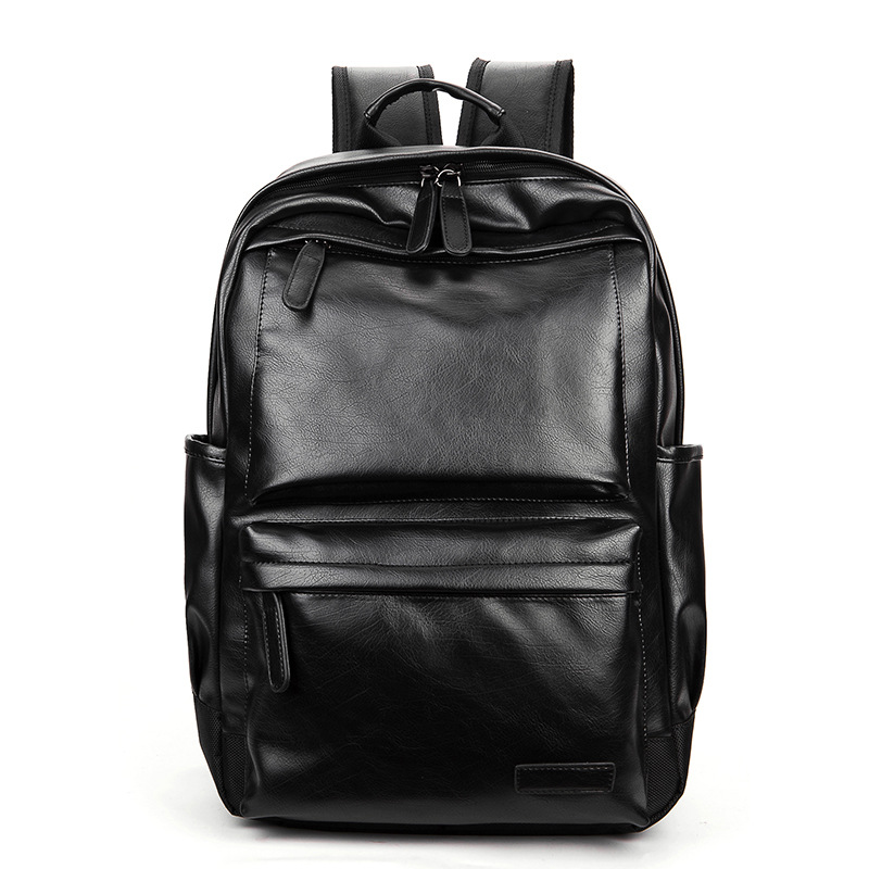 NEW Pretty Style Leather Men Black Backpack Fashion Famous Brand Male Casual Boys School Shoulder bags for Men's Backpack