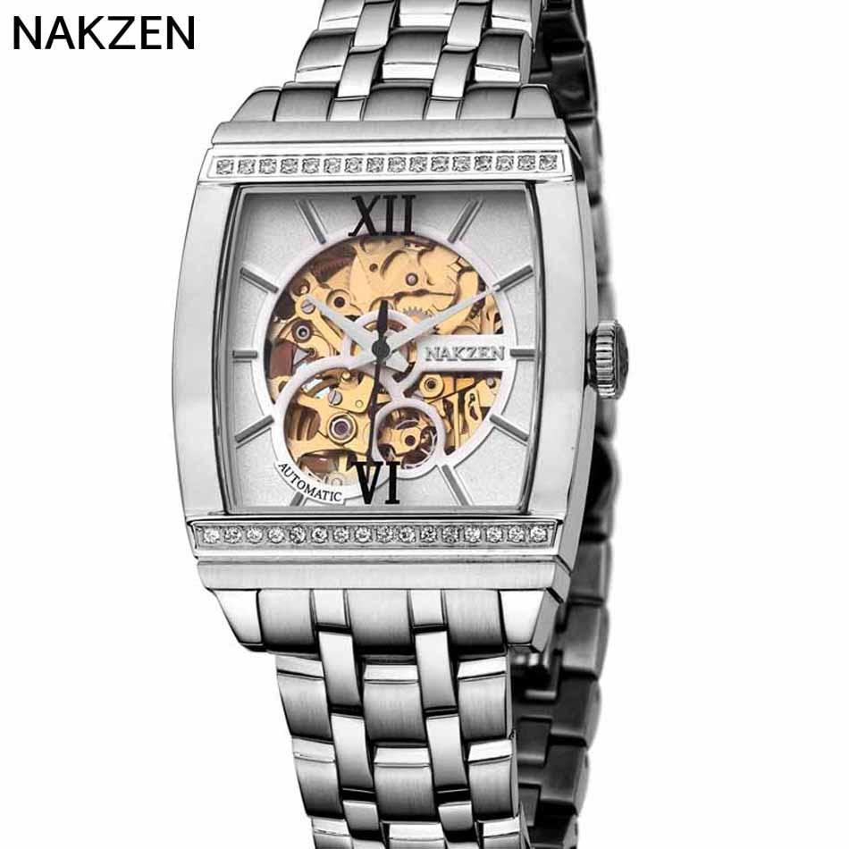 NAKZEN Square Hollow Mechanical Watch Luxury Casual Fashion Business font b Men s b font Watch