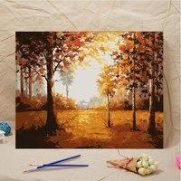 DIY картина маслом Рисование картины по номерам лес осенний пейзаж настенный 40*50 см картины по номерам на холсте