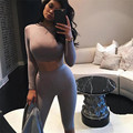 2017 Women Sportwear Bodycon O-Neck Playsuit Party Jumpsuit Romper Casual Womens Long Sleeve Jumpsuits Solid Rompers Female F222